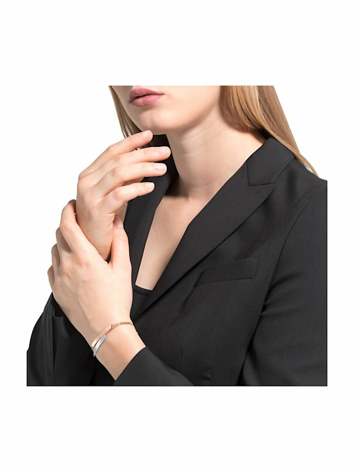 Armband für Damen, Edelstahl IP Rose bicolor