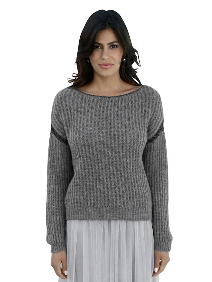 AMY VERMONT Pullover mit Glanzgarn-Verarbeitung, Grau