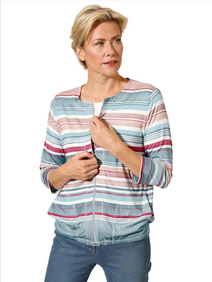 MONA Shirtjacke mit dekorativen Verlaufsringeln, Türkis/Rosé/Ecru