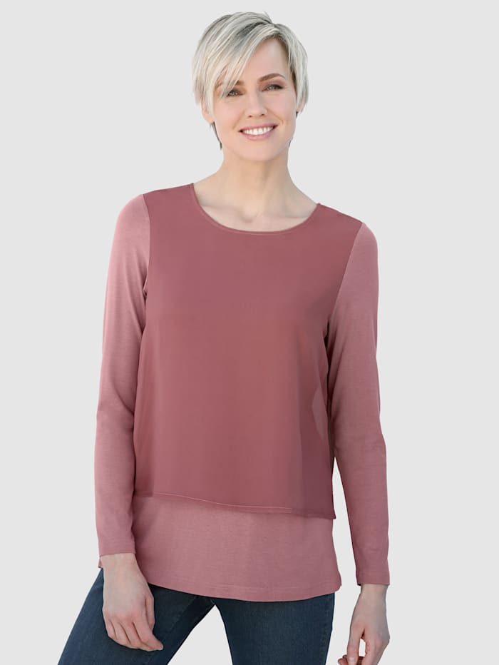 Laura Kent Blouse in modieuze, dubbellaagse look, Oudroze