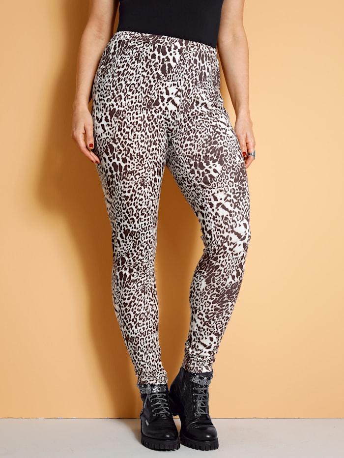 MIAMODA Legging à imprimé léopard, Beige/Marron