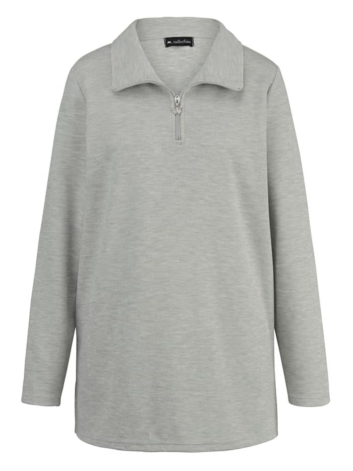 m. collection Sweatshirt in angesagter Basic-Form, Silbergrau