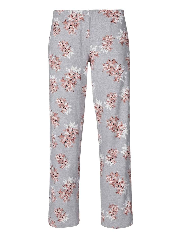 Skiny Schlafpants, Grey Melange Flower