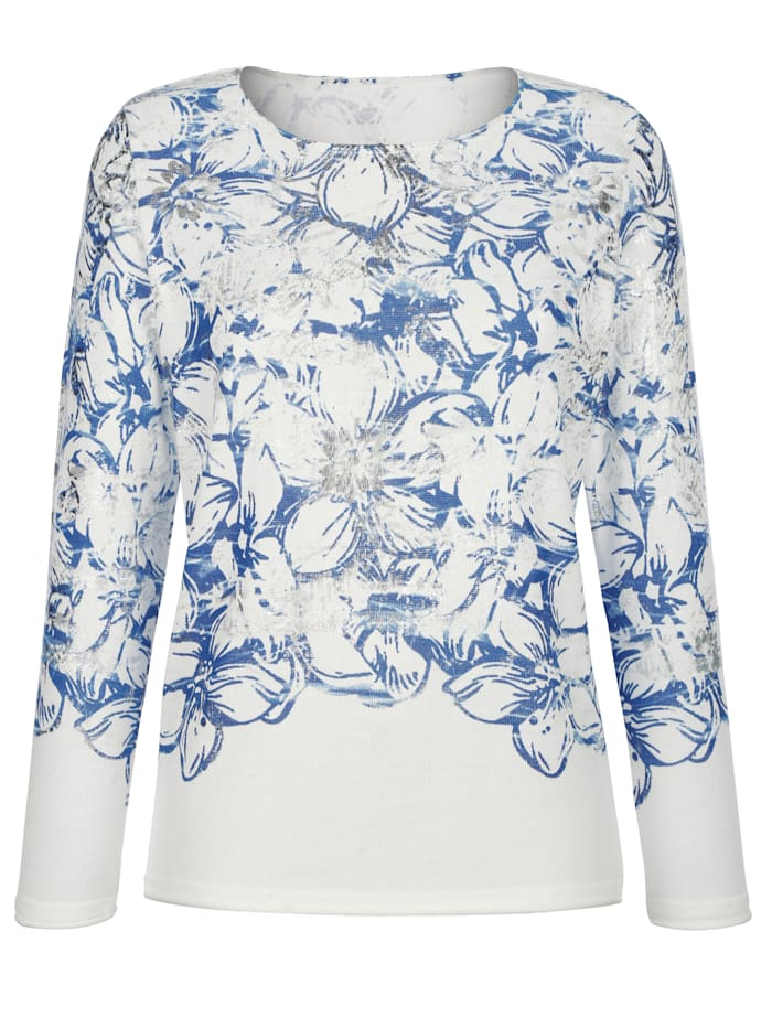 Pullover mit Blumendruck und Foliendruck
