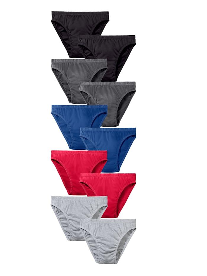 G Gregory Slips per 10 stuks in extra smal model, Rood/Zwart/Grijs/Blauw