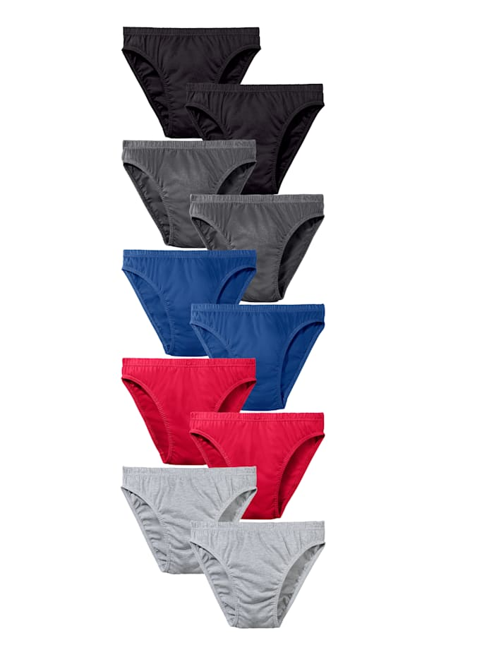 Slips par lot de 10 de coupe échancrée, Rouge/Noir/Gris/Bleu
