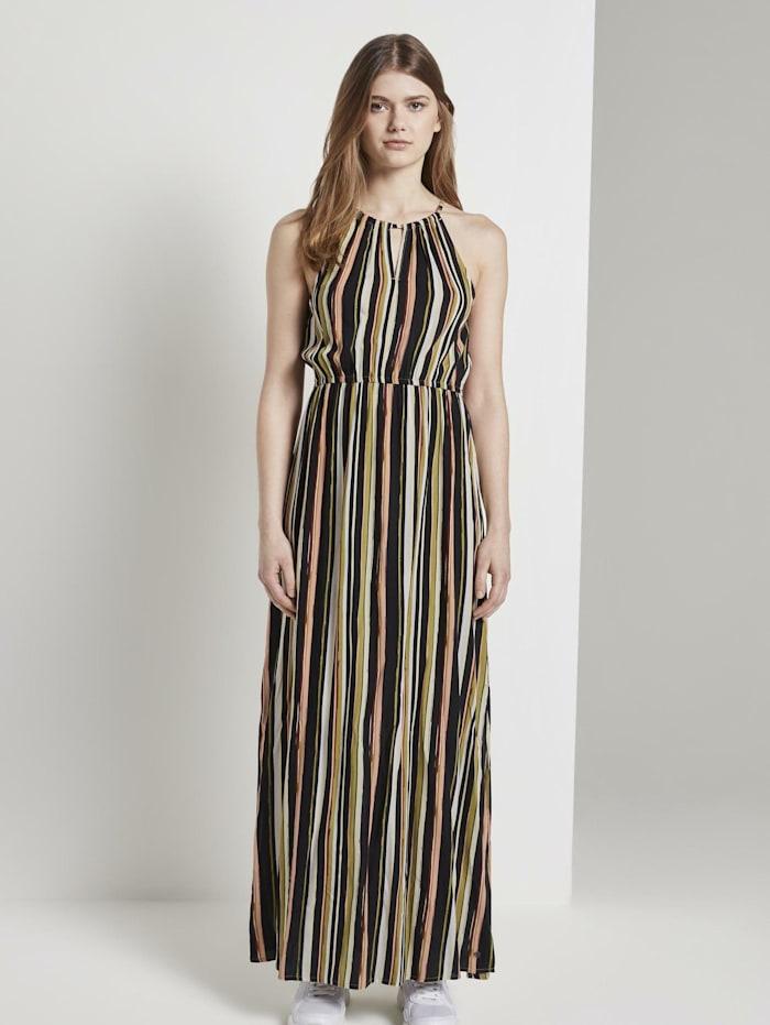 Tom Tailor Denim Gestreiftes Neckholder-Kleid in Maxi-Länge, black multicolor stripe