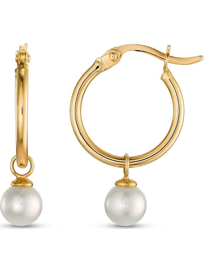 CHRIST Pearls Damen-Creolen 375er Gelbgold