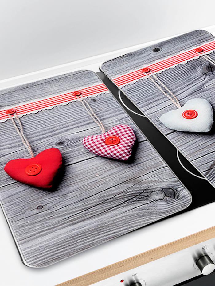 2 komfyrdekkeplater -Hjerter-