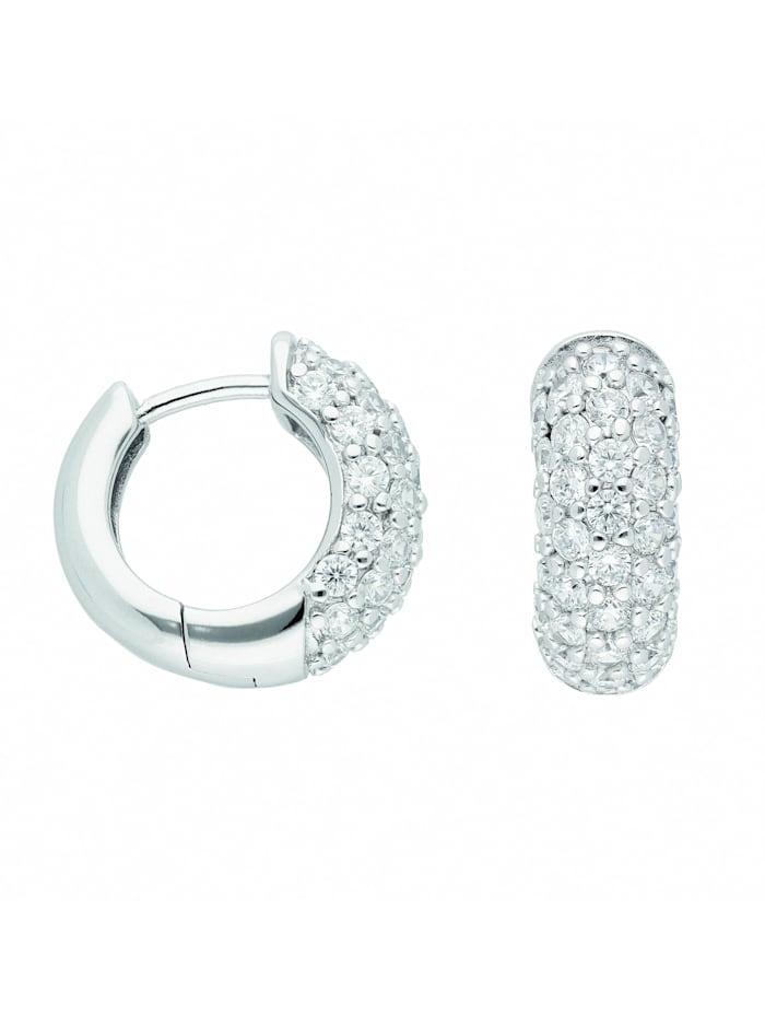 1001 Diamonds Damen Silberschmuck 925 Silber Ohrringe / Creolen mit Zirkonia Ø 16,1 mm, silber