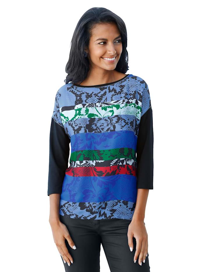 Betty Barclay Shirt van een materialenmix, Donkerblauw/Groen