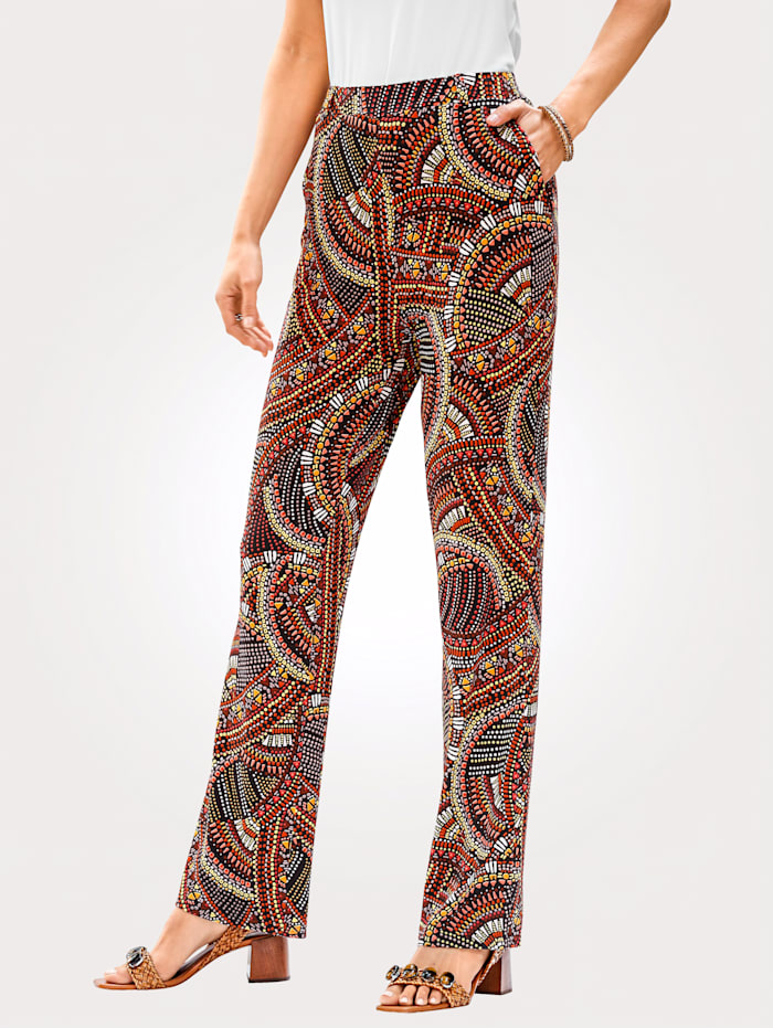 MONA Jersey trousers in a colourful boho print, Black/Terracotta
