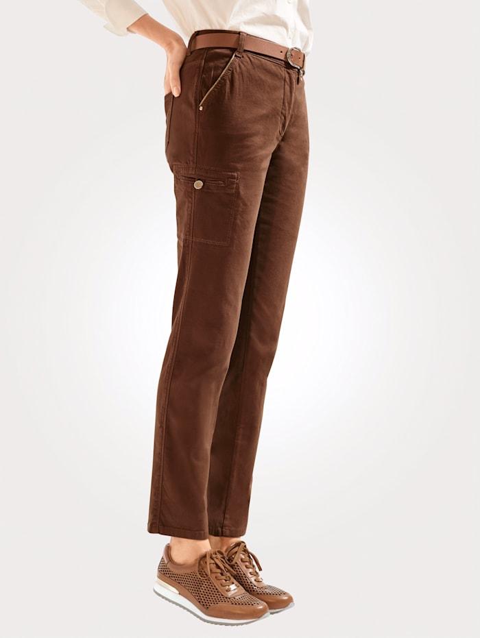 MONA Pantalon à détails en fil brillant, Marron