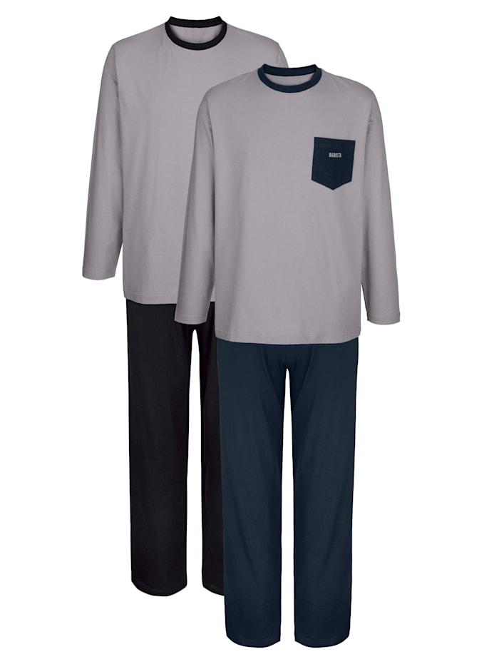 BABISTA Pyjama's van comfortabel materiaal 2 stuks, 1x grijs/marine, 1x grijs/zwart