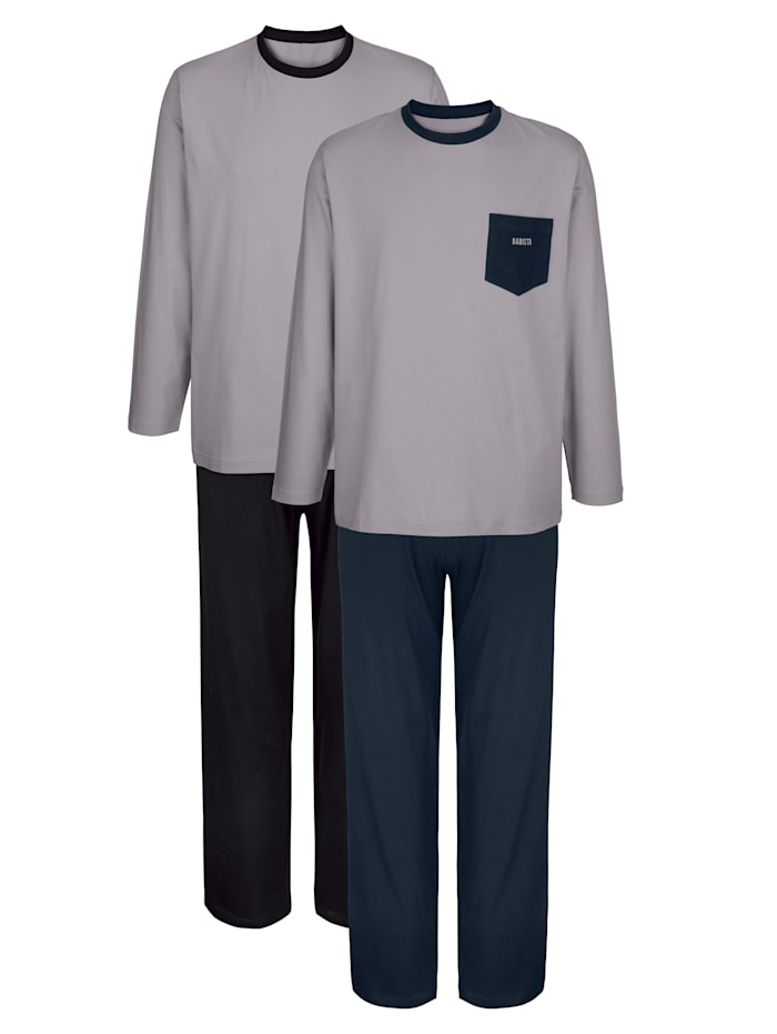BABISTA Schlafanzüge mit Seitenpaspel 2er Pack, 1x grau/marine, 1x grau/schwarz