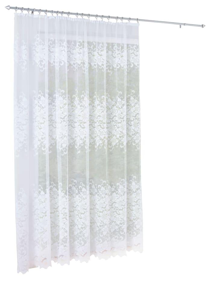 Webschatz Gardin -Blomster-, hvit