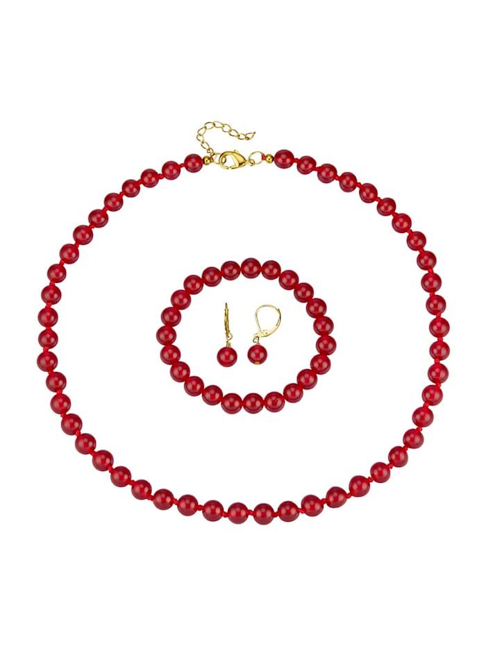 Halsband, armband & örhängen i jade, Röd