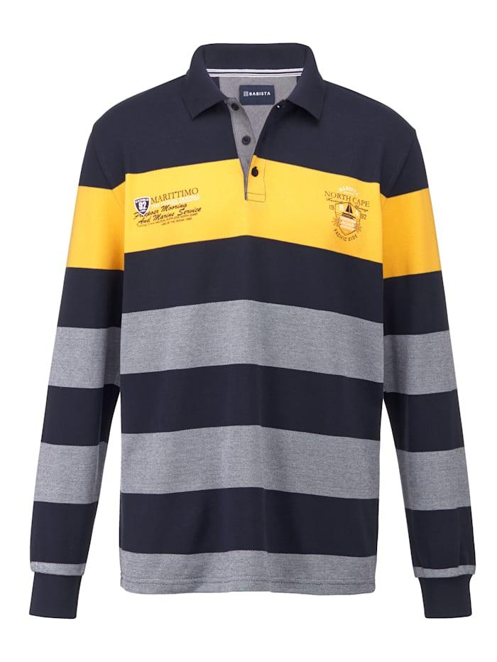 BABISTA Sweatshirt van licht piquémateriaal, Marine/Geel