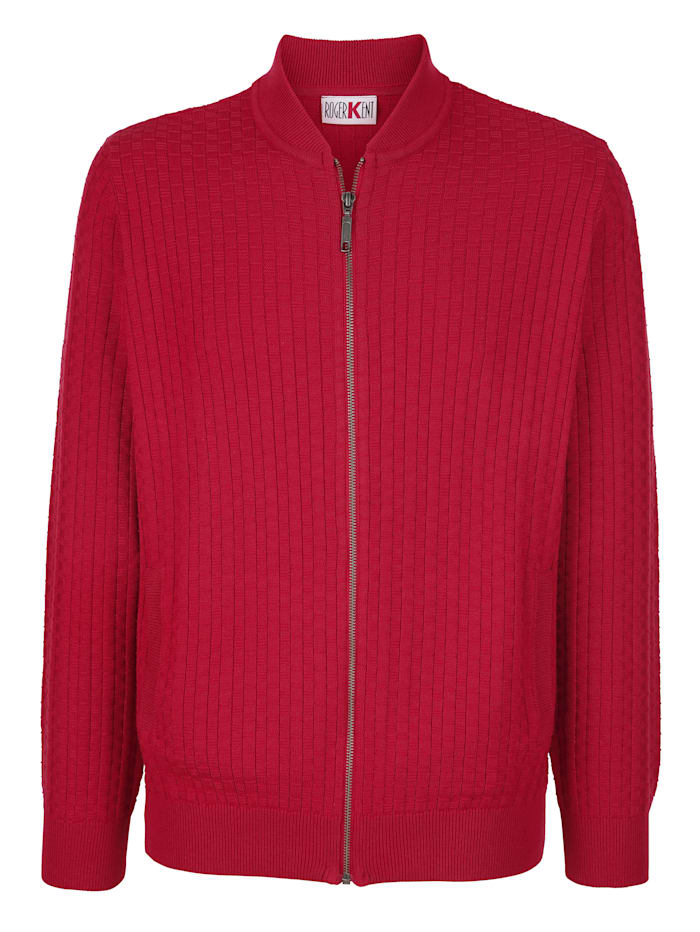 Roger Kent Strickjacke mit Allover-Strickmuster, Rot