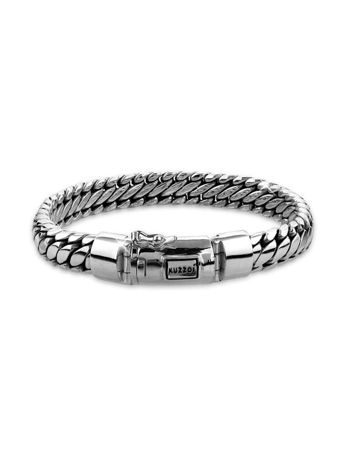 Kuzzoi Armband Herren Rund Basic Geflochtene Optik In 925 Silber, Silber