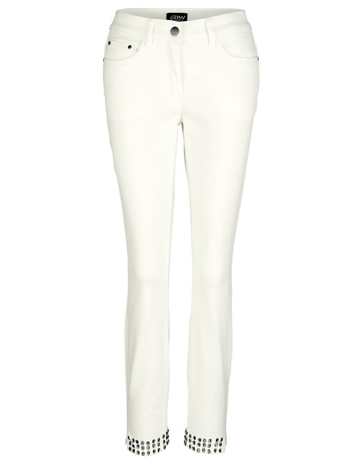 AMY VERMONT Jeans mit Strasssteinen, Off-white