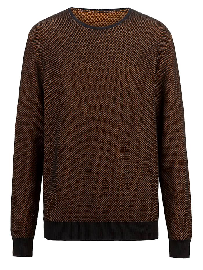 Men Plus Pullover in zweifarbiger Optik, Schwarz/Cognac