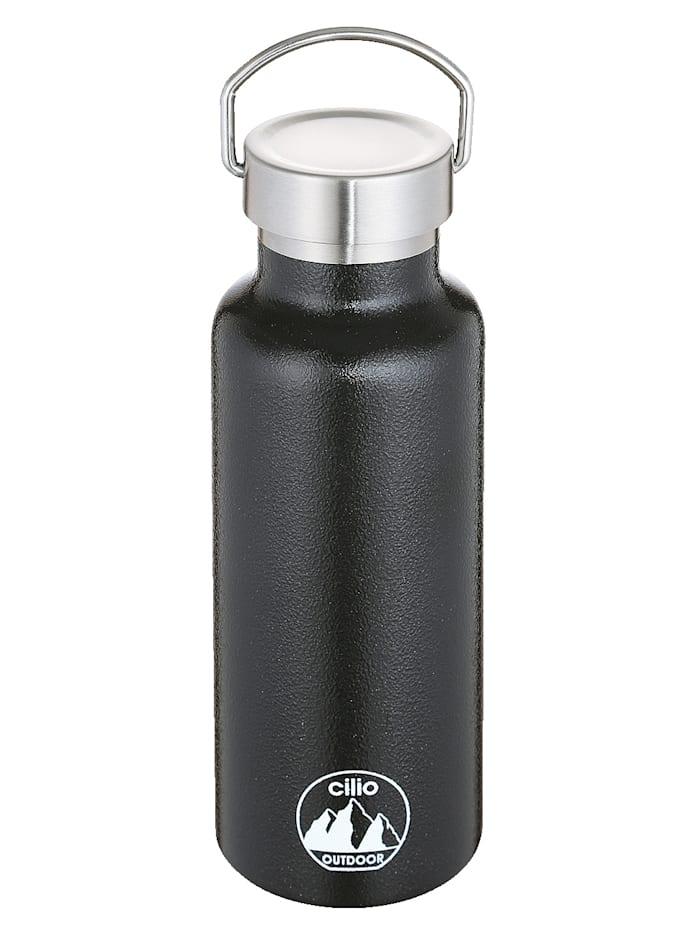 Cilio Isoliertrinkflasche 'GRIGIO', 750 ml Edelstahl lackiert, schwarz