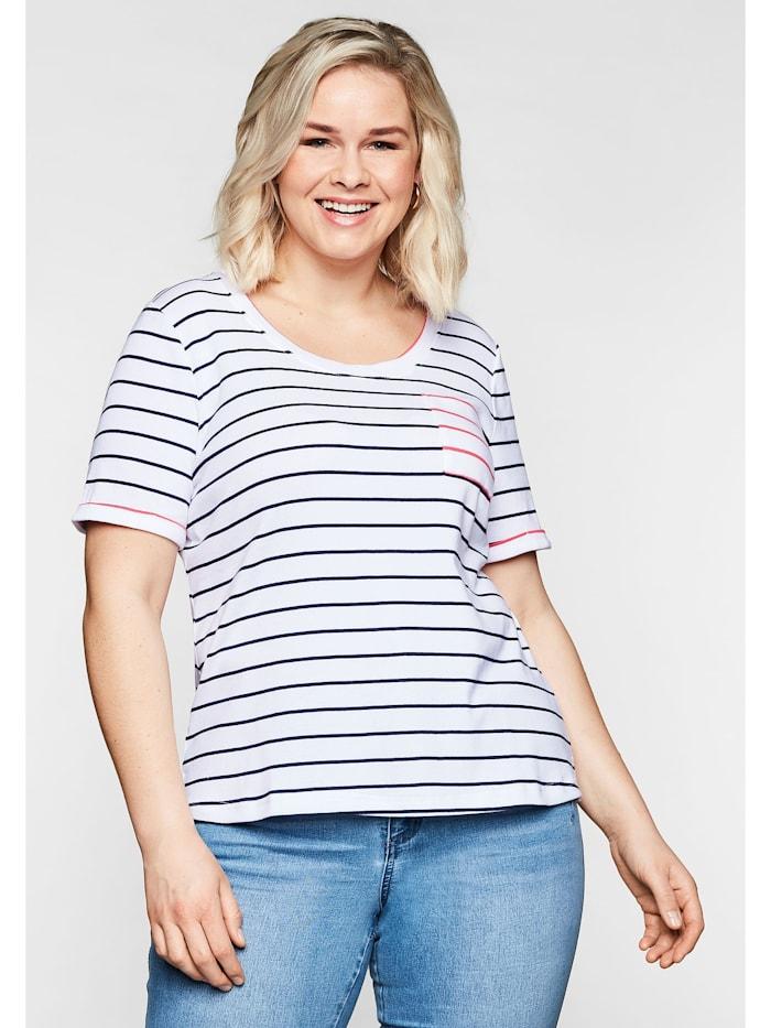 Sheego T-Shirt mit Ringeln und Brusttasche in Kontrastfarbe, marine-weiß