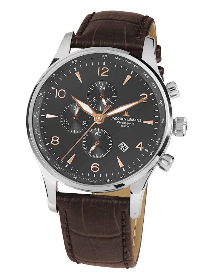 Jacques Lemans Herren-Uhr Chronograph SERIE LONDON 1-1844ZK, Braun
