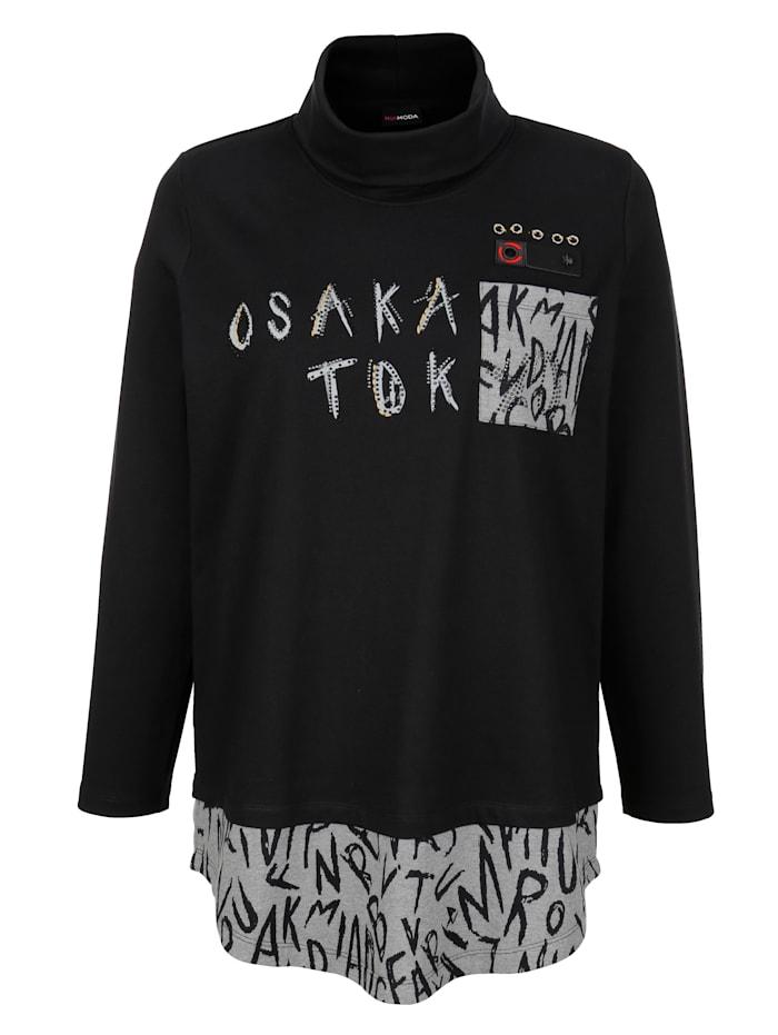 Sweatshirt mit bedrucktem Einsatz am Saum