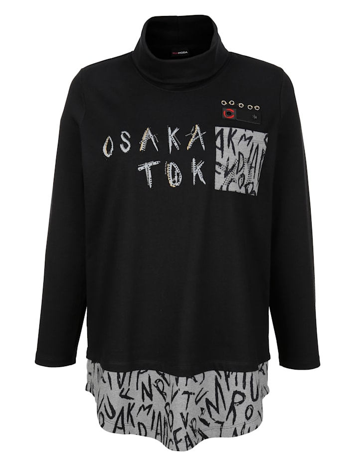 Sweatshirt met gedessineerde inzet aan de zoom