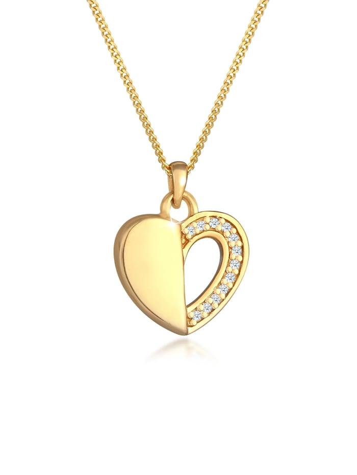 DIAMORE Halskette Herz Ewigkeit Diamant (0.06 Ct.) 925 Silber, Gold