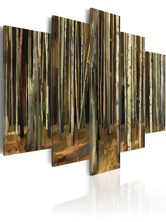 artgeist Wandbild Geheimnis von Sherwood - 5 Teile, Grau,Braun,Creme