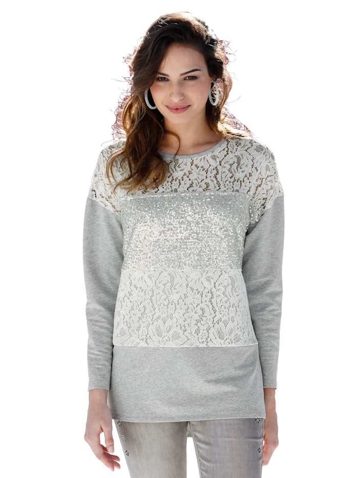 AMY VERMONT Sweatshirt mit Pailletten und Spitzeneinsatz, Grau/Off-white