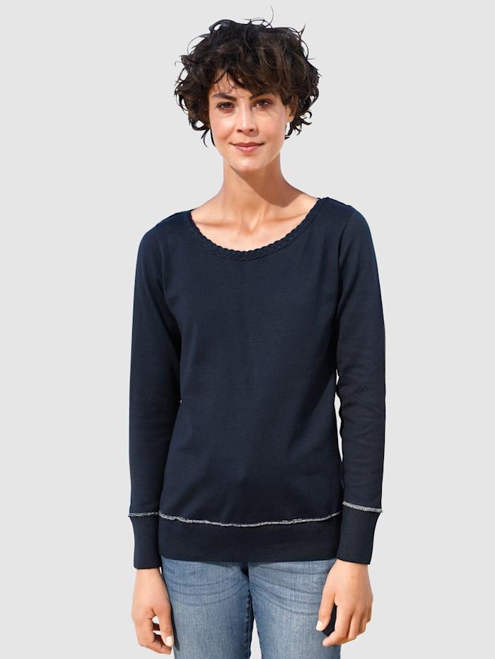 Dress In Pullover mit Zopfmuster, Marineblau