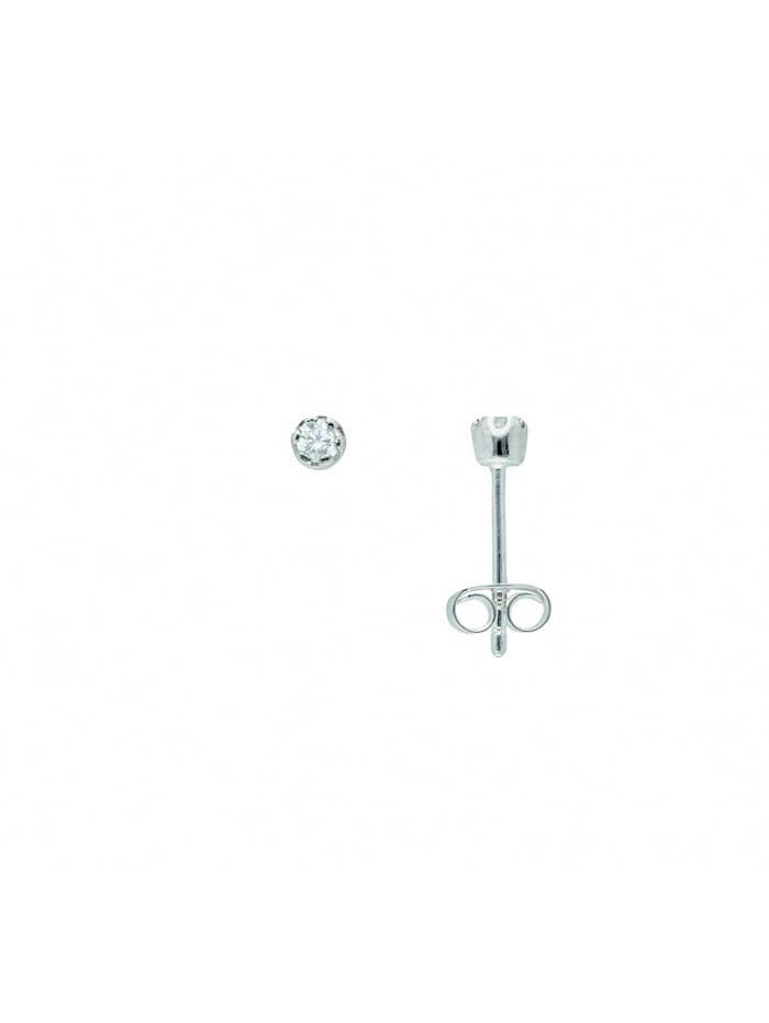 1001 Diamonds Damen Silberschmuck 925 Silber Ohrringe / Ohrstecker mit Zirkonia Ø 3 mm, silber