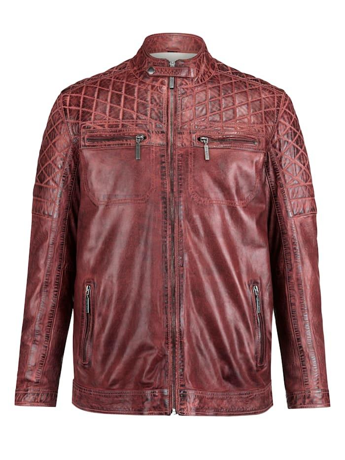 BABISTA Veste en cuir au look usé tendance, Rouge