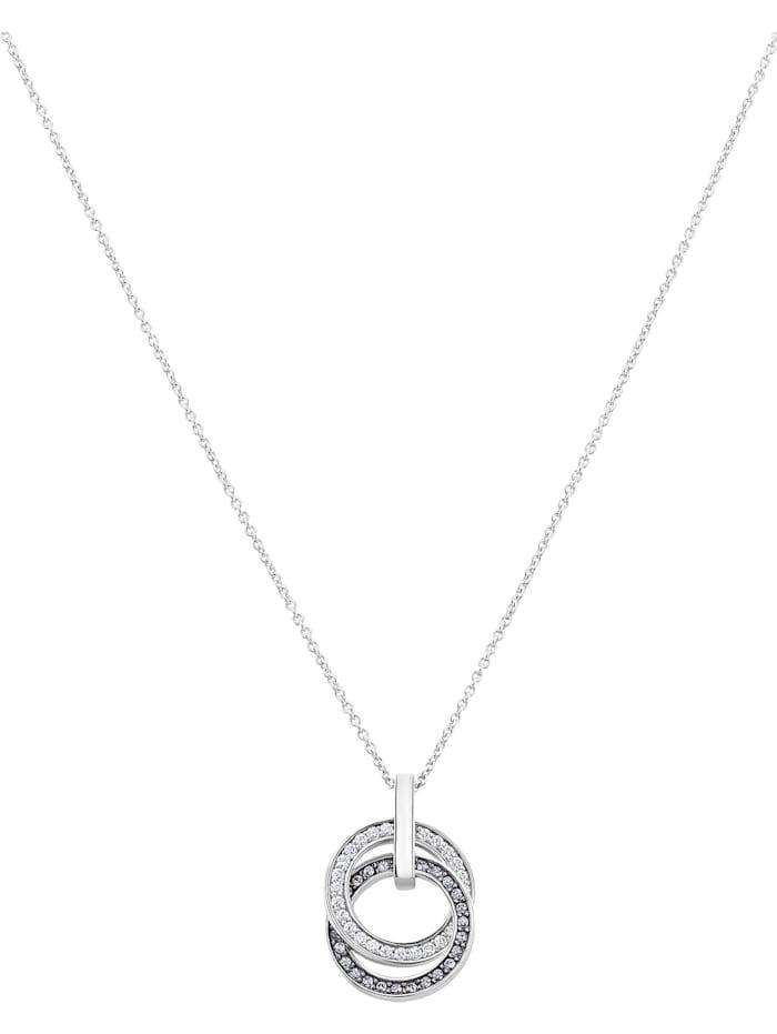 Jette JETTE Damen-Kette 925er Silber rhodiniert 25 Zirkonia, silber/schwarz