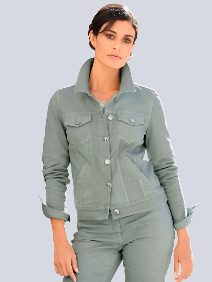 Alba Moda Jeansjacke in modischer Farbstellung, Salbeigrün