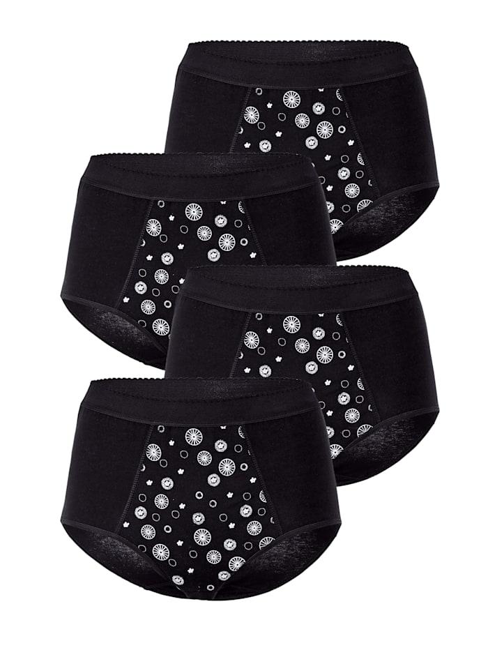 Harmony Taillenslip mit Bauchweg-Funktion 4er Pack, 4x schwarz/bedruckt