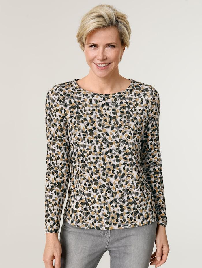 MONA Shirt met dessin rondom, Mosterdgeel/Grijs/Wit