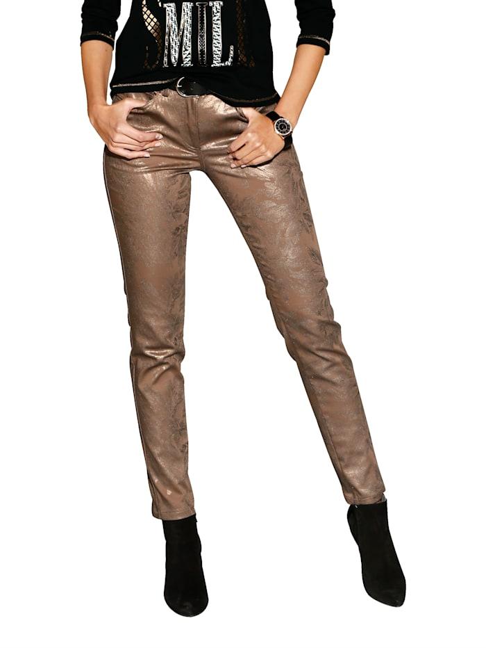 AMY VERMONT Pantalon Enduit scintillant, Coloris bronze
