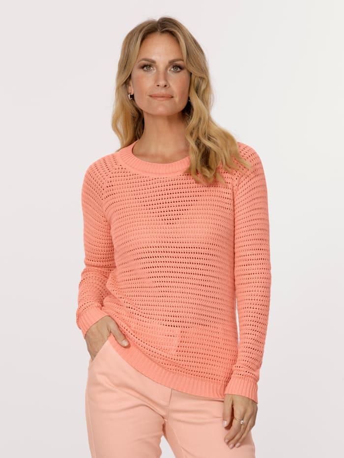 MONA Pullover in Ajourstrick, Apricot