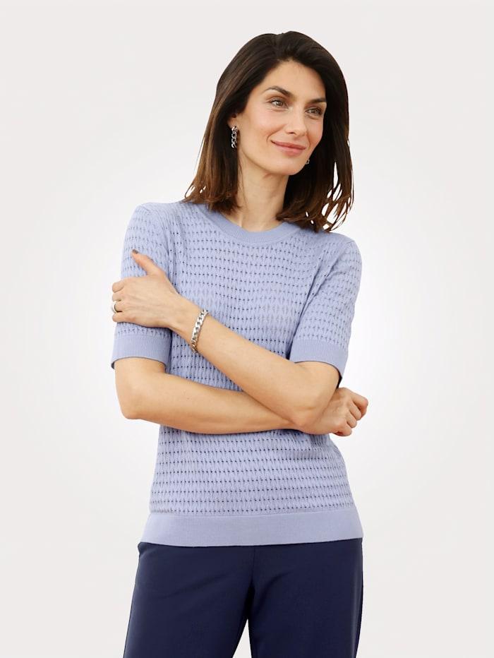 MONA Pullover mit allover Ajourmuster, Hellblau
