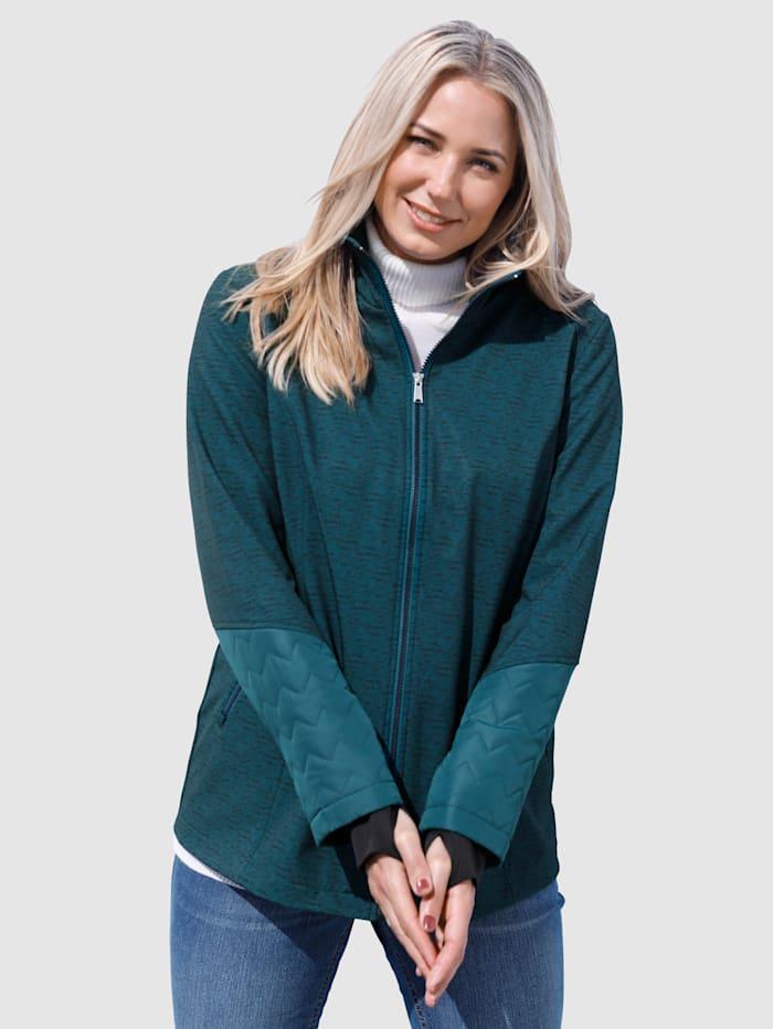 MIAMODA Jacke aus wasserabweisendem & winddichtem Softshellmaterial, Petrol/Schwarz