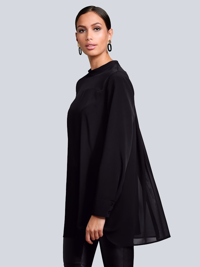 Alba Moda Blouse in modieus lang model, Zwart