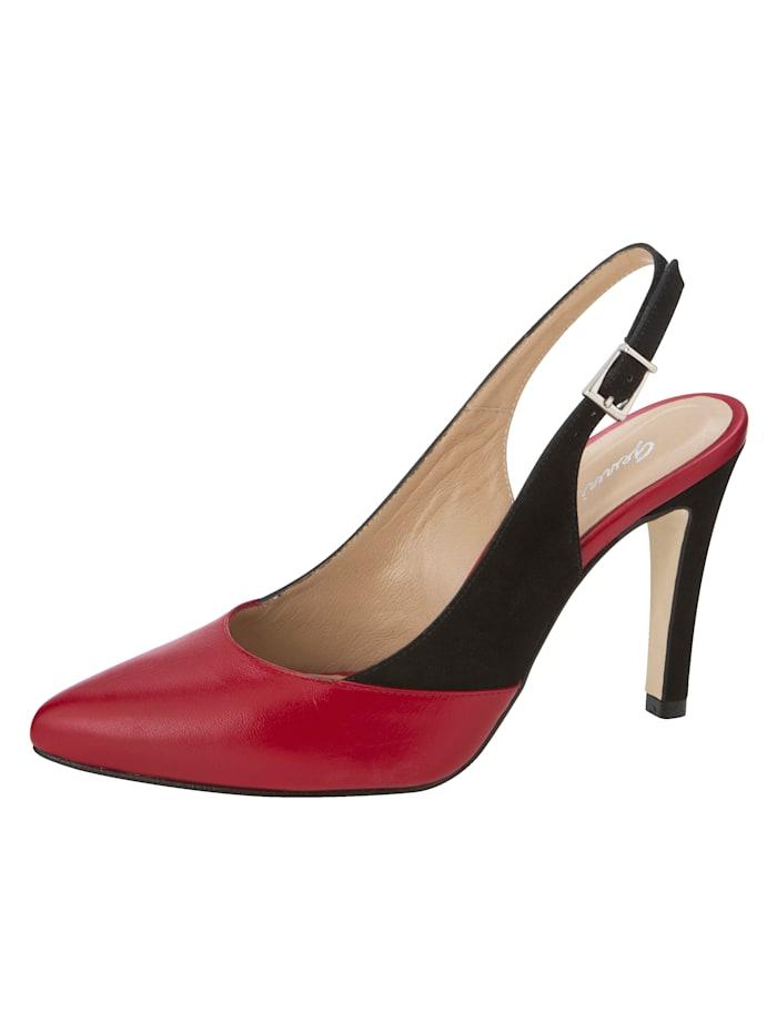 Gennia Sling obuv v elegantnom, špicatom tvare, Červená