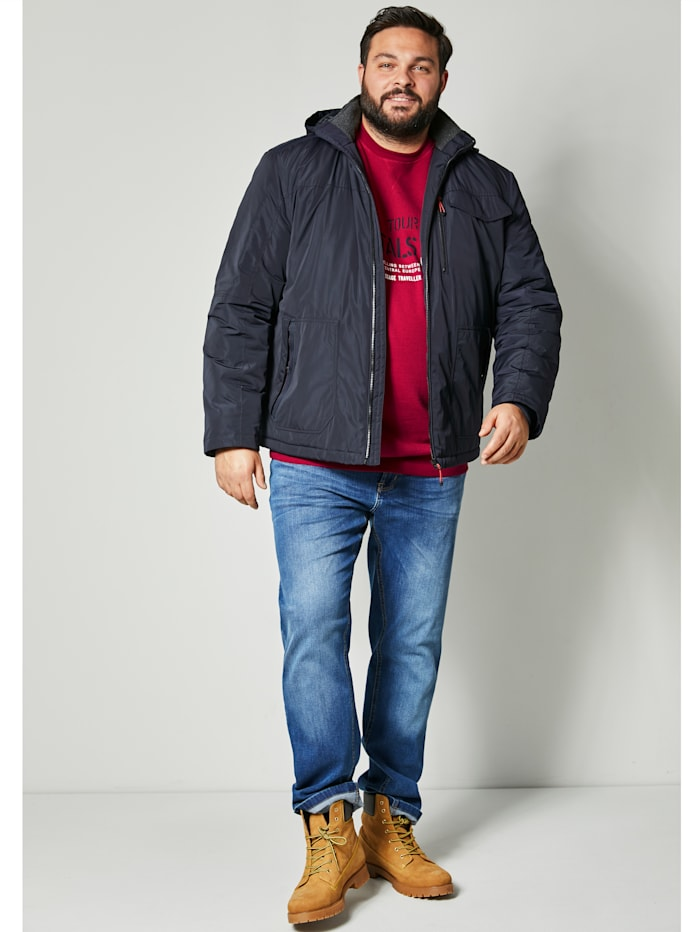 Men Plus Jacke mit Kapuze, Marineblau