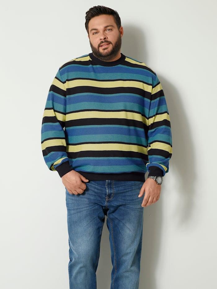 Men Plus Pullover in schönem Streifendesign, Marineblau/Gelb