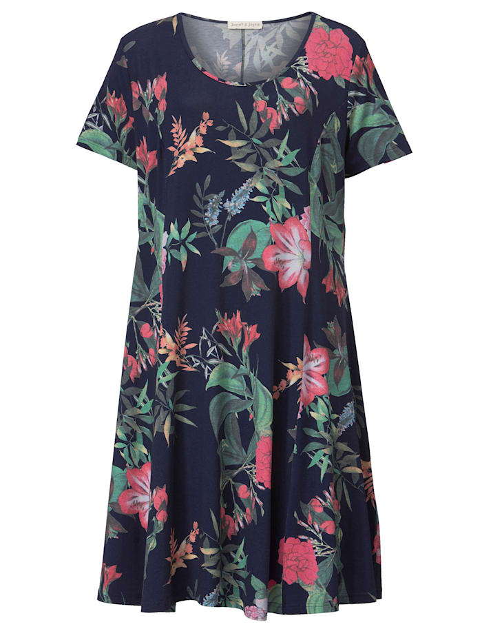Jerseykjole med blomstermønster